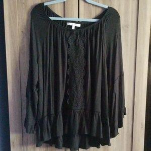Fever Black Peasant Top w/ Crochet 3X